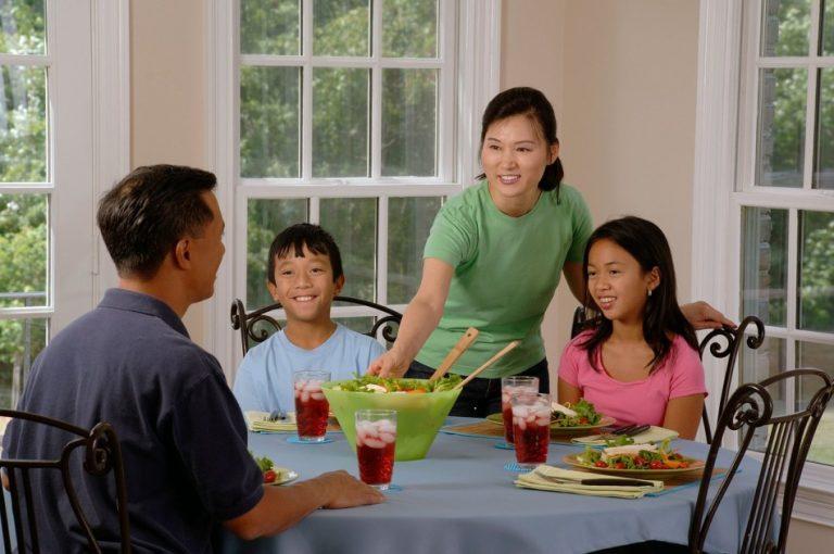 asian family having dinner.