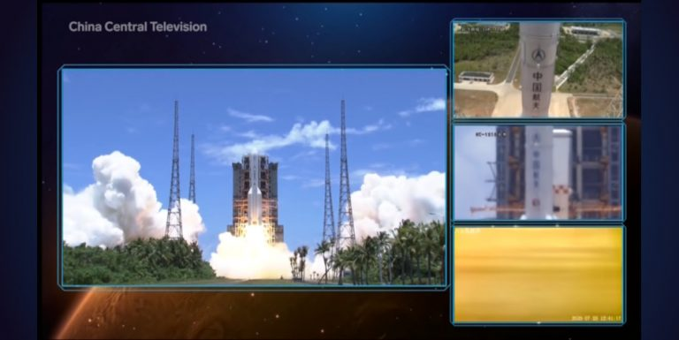 The launch of China's Mars mission seen from multiple angles.