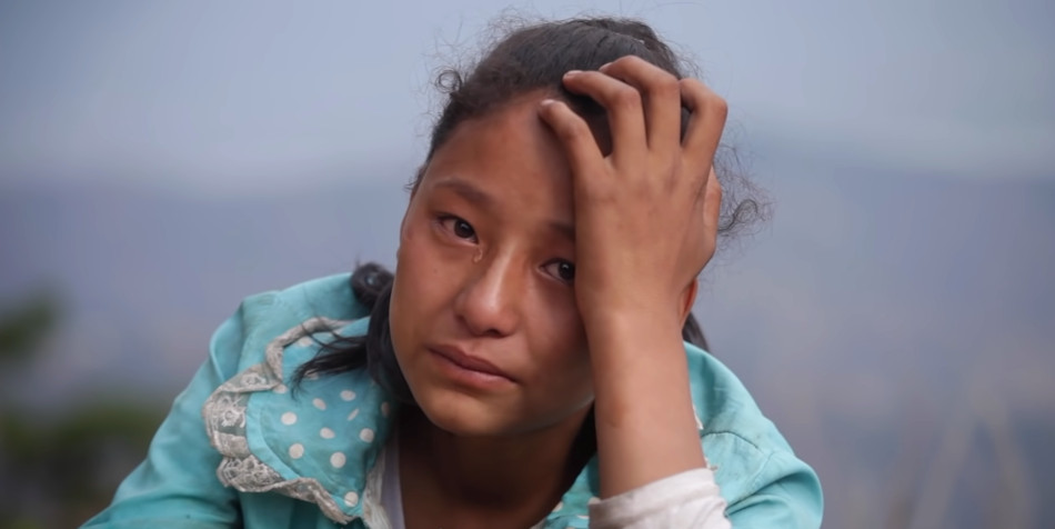 A Chinese girl crying.