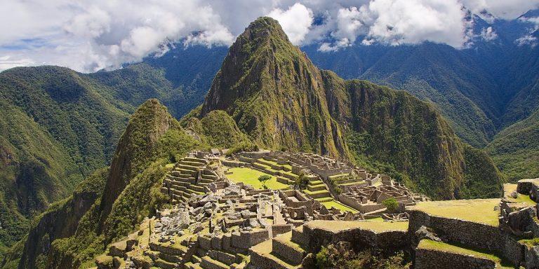 An aerial view of Machu Picchu.