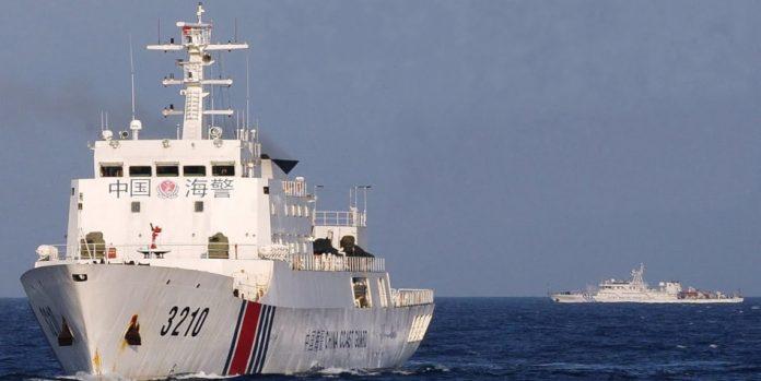 A Chinese Coast Gaurd ship at sea.