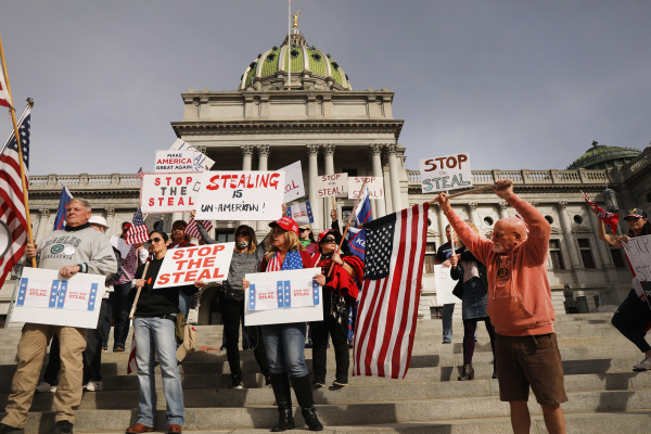 Voters in USA_ demonstrating- demanding recount because of alleged voting fraud.