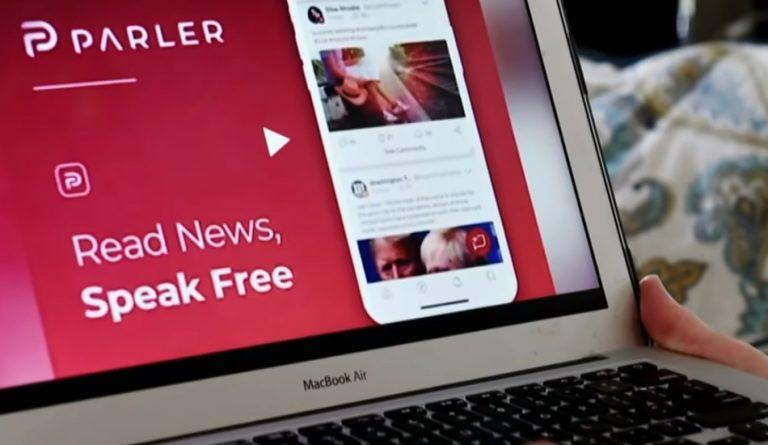 The Parler website as displayed on a Macbook Air.