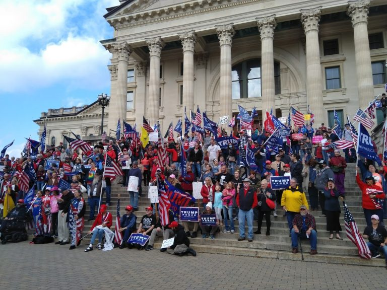 Trump supporters at a rally in Wisconsin on Nov. 14, 2020. Just 23 percent of Trump voters believe that the president lost re-election against Joe Biden.