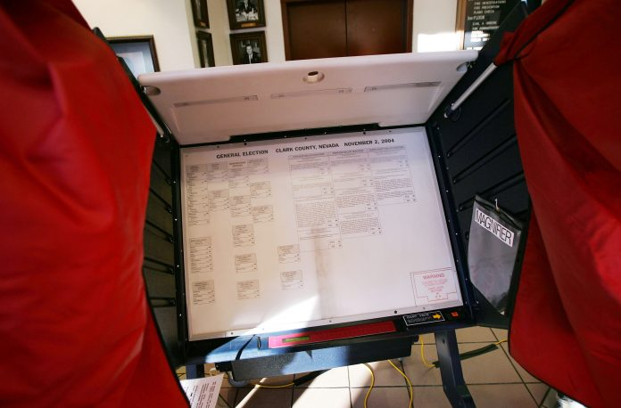 A Sequoia Voting System machine from November 2, 2004 in Las Vegas, Nevada.