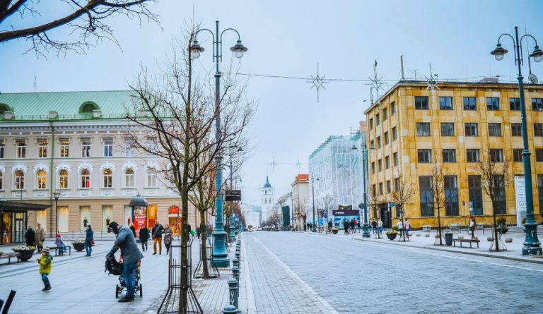 A city street in Vilnius, Lithuania.