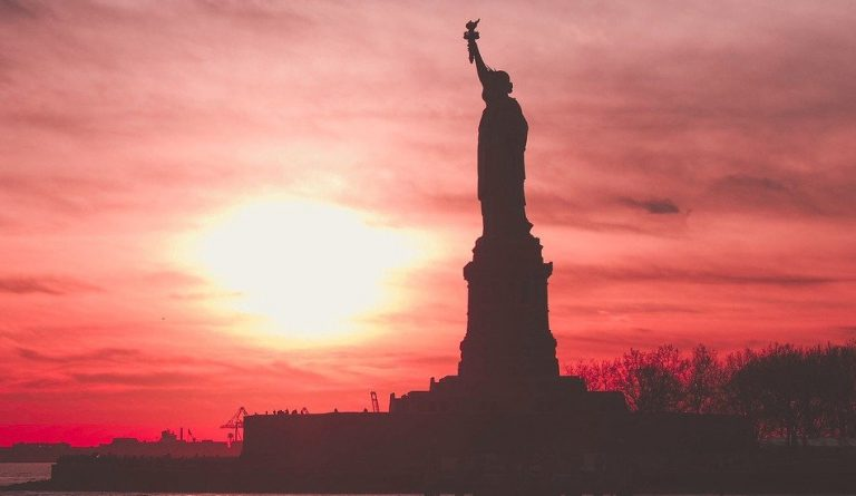 Statue of Liberty at sunset. Free and fair elections are essential for miantaining democracy. Now there is suspected Chinese interferece in the election because of Trump