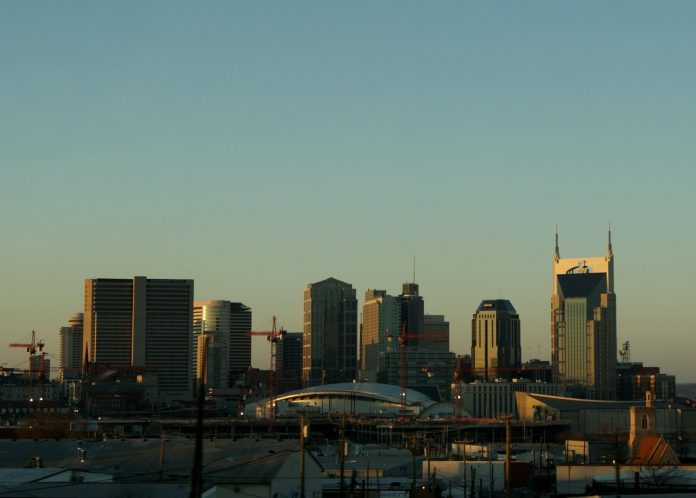 Nashville, Tennessee pictured on Jan. 28 2011. Driving along I-40W, snapped this shot of the Nashville skyline.