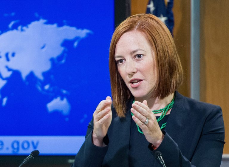 Then-U.S. State Department spokeswoman Jen Psaki conducts her daily briefing for reporters on June 16, 2014 at the State Department in Washington. (Image: PAUL J. RICHARDS/AFP via Getty Images)