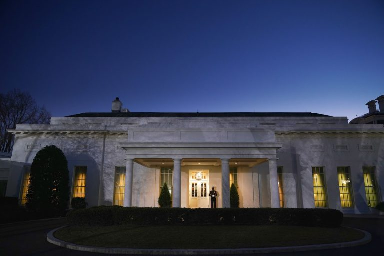 The West Wing of the White House on US President Donald Trump's last full day in office, in Washington, DC, on January 19, 2021. - President Donald Trump began his final full day in the White House on January 19, 2021 with a long list of possible pardons to dish out before snubbing his successor Joe Biden's inauguration and leaving for Florida. On January 20, 2021 at noon, Biden will be sworn in and the Trump presidency will en