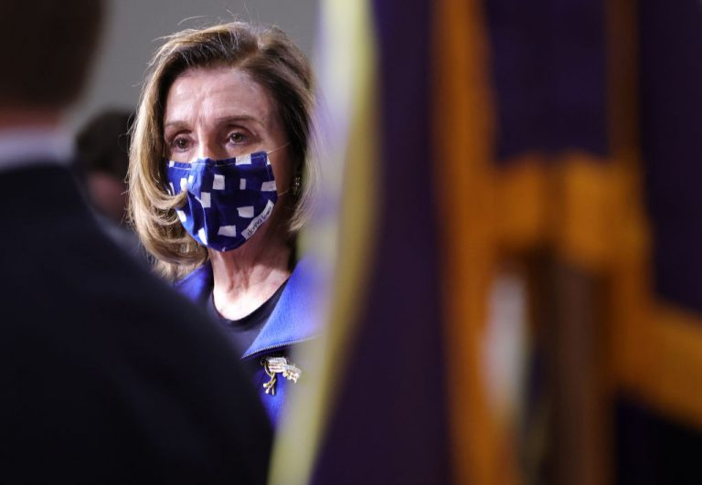 Speaker of the House Nancy Pelosi (D-CA) joins House impeachment managers at a press conference after the conclusion of former President Donald Trump's second impeachment trial