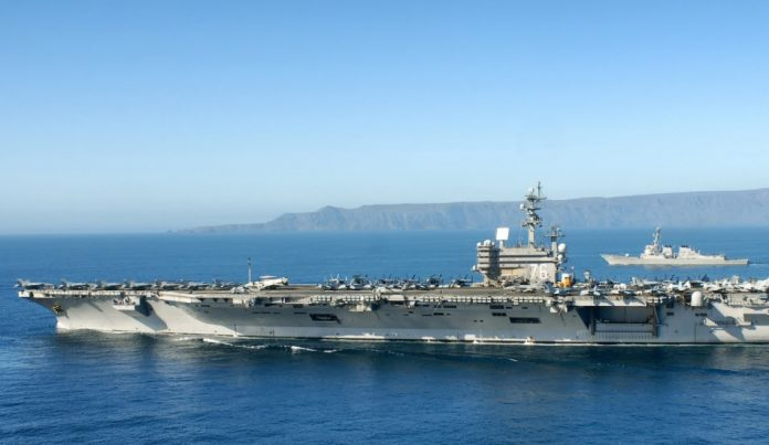 Two American carriers recently carried out joint exercises in the South China Sea, a region that Beijing claims as its own territorial waters.