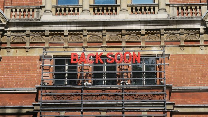 "Royal Court Theater, Chelsea London, UK during COVID-19 lockdown. Prime Minister Boris Johnson says lockdowns are to be eased ""Once and for all,"" with all social distancing restrictions lifted by June 21"