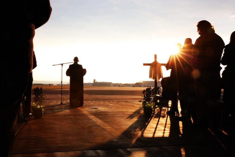 U.S. Army Chaplain Maj. Carl Phillips, leads worship with a hymn during the garrison's Easter sunrise service, April 1, 2018, in Wiesbaden, Germany. Easter lockdowns in Germany were rescinded with an apology by Chancellor Angela Merkel.