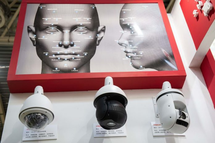 Artificial intelligence security cameras with facial recognition technology are seen at the 14th China International Exhibition on Public Safety and Security at the China International Exhibition Center in Beijing on October 24, 2018. Surveillence is one of the reasons the Chinese Communist Party is exploiting artificial intelligence.