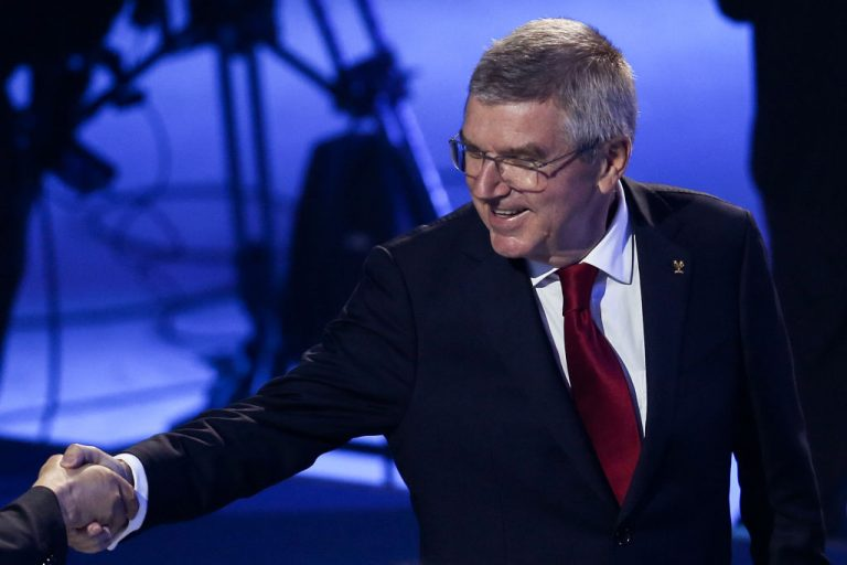 IOC president Thomas Bach at a launching ceremony as mascots of the 2022 Olympic and Paralympic Winter Games, Bing Dwen Dwen and Shuey Rhon Rhon are unveiled at Shougang Ice Hockey Arena on September 17, 2019 in Beijing, China. Bach shook hands with the Chinese Communist Party on a deal to have the IOC purchase olympic vaccines from Sinopharm and Sinovac.