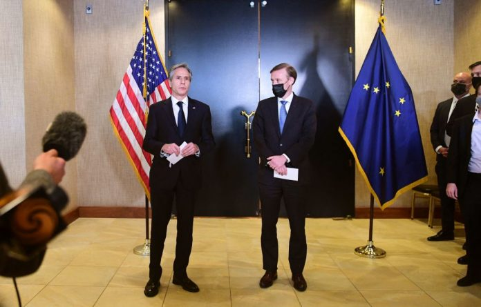 U.S. Secretary of State Antony Blinken (L) and National Security Advisor Jake Sullivan (R) address the media following the closed-door morning talks between the United States and China upon conclusion of their two-day meetings in Anchorage, Alaska on March 19, 2021. The Chinese Communist Party had President Biden's staff on the back foot from the getgo as it promoted communism and showed defiance of an international rules-based order in the Anchorage talks.