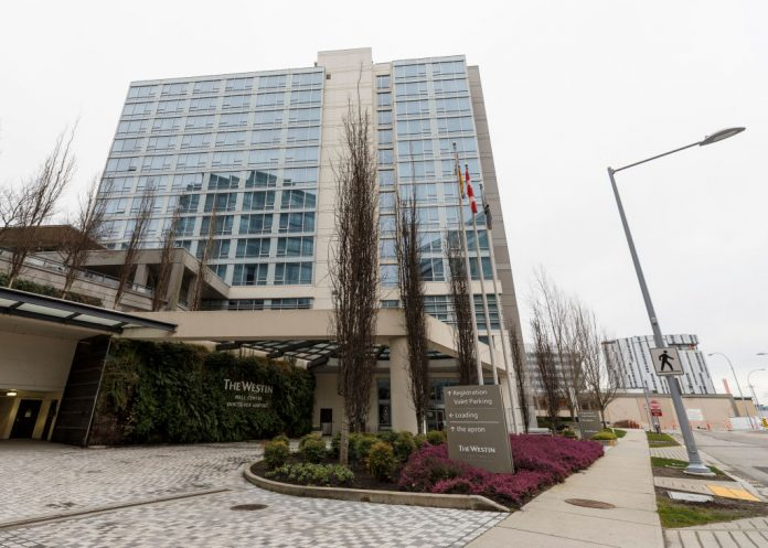 An exterior view of Westin Wall Centre Vancouver Airport on February 20, 2021 in Richmond, British Columbia, Canada. Air travellers arriving on February 22 or after must now stay three nights in Canada hotel quarantine and take a PCR test on arrival, at their own cost, to enter Canada