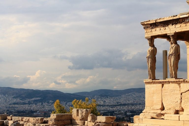 statue of sisyphus at the acropolis in Greece