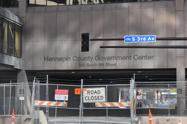 Fencing surrounds the trial venue, Hennepin County Government Center, in preparation of the trial of former police officer Derek Chauvin in the death of George Floyd