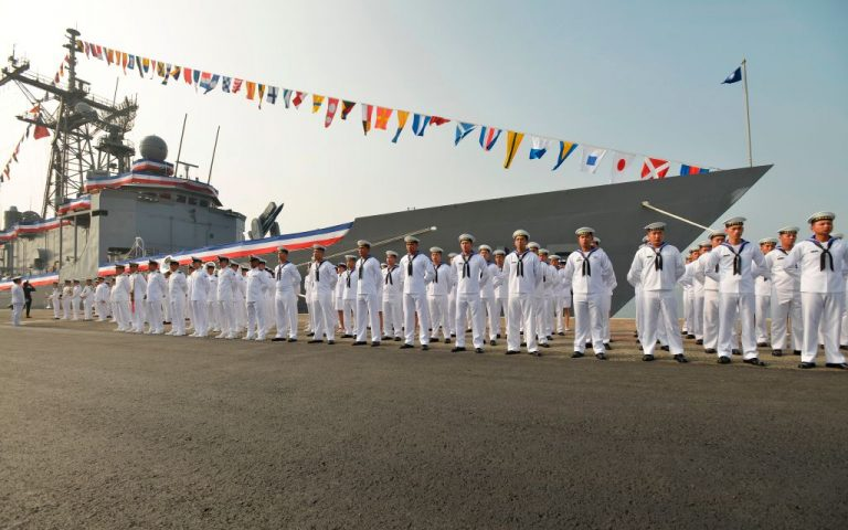 Taiwan sailors parade in front of a new frigate during a ceremony to commission two Perry-class guided missile frigates from the U.S. into the Taiwan Navy, in the southern port of Kaohsiung on November 8, 2018. China's Communist Party has increased air force and naval aggression against the democratic and independent Republic of Taiwan, stoking fears the Party will soon attempt to invade the island.