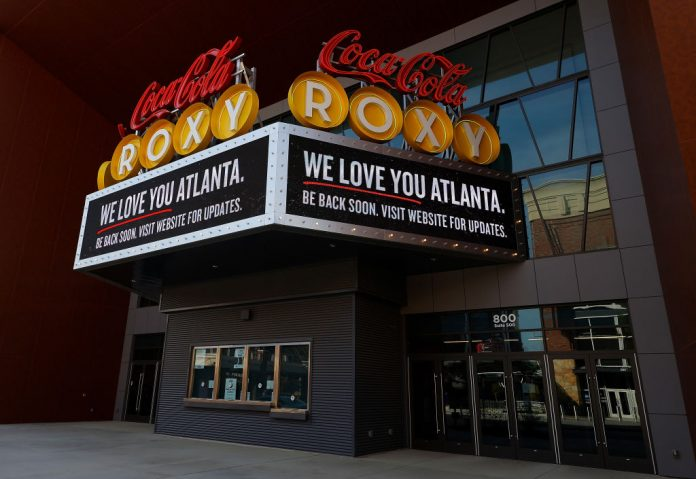 A general view of the Coca-Cola Roxy in The Battery Atlanta connected to Truist Park, home of the Atlanta Braves, on March 26, 2020 in Atlanta, Georgia. Georgia lawmakers have moved to remove Coke products from state offices after CEO James Quincey went on record criticising Georgia's election reform legislation