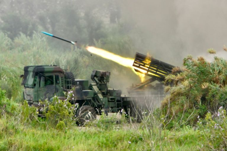 """A projectile is launched from a Taiwanese-made Thunderbolt-2000 multiple rocket system during the annual Han Kuang military drills in Taichung on July 16, 2020. - The five-day """"Han Kuang"""" (Han Glory) military drills starting on July 14 aimed to test how the armed forces would repel an invasion from the Chinese Communist Party, which has vowed to assimilate Taiwan to communism -- by force if necessary."""