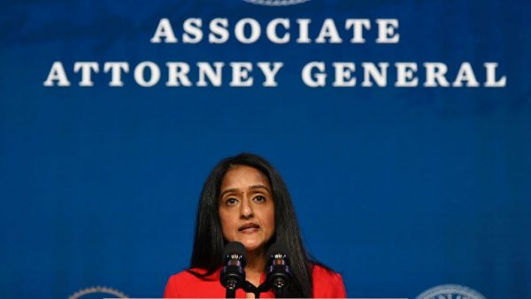 Vanita Gupta, nominee for Associate Attorney General, speaks after being nominated by US President-elect Joe Biden at The Queen theater January 7, 2021 in Wilmington, Delaware. Gupta's role in encouraging the censorship of conservative content is being investigated. for