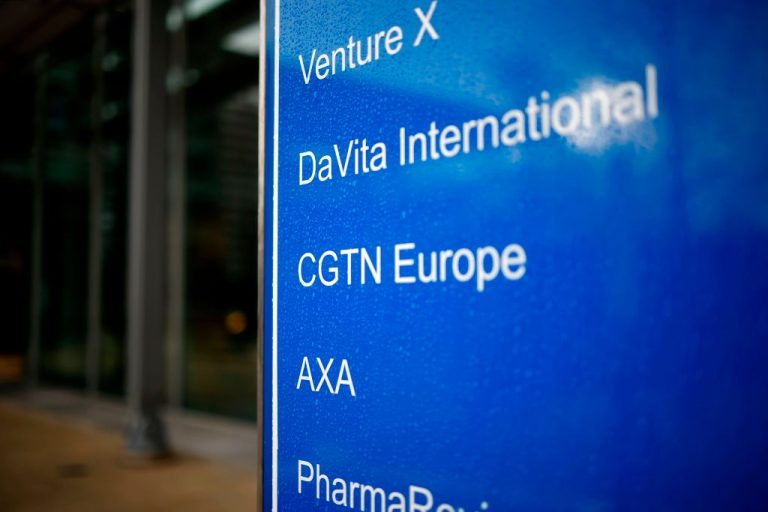 The logo of CGTN Europe is pictured on a sign outside an office block that houses the offices of China Global Television Network, in Chiswick Park, west London on February 4, 2021. The UK's broadcast regulator revoked the licence of Communist Party news network CGTN after finding its state-backed ownership structure flouted British law.