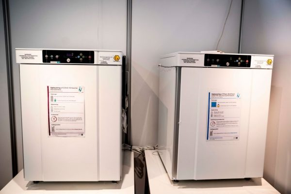 Freezers with stored AstraZeneca vaccines are seen at the Region Hovedstaden's vaccine center in Bella Center in Copenhagen on February 11, 2021. Denmark was the first to suspend AstraZeneca's adenovirus vector variant from distribution in its country.
