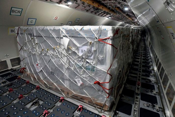 A photo taken on February 16, 2021 shows the cargo of a Hungarian Airbus 330 plane, said to be transporting the first doses of the Chinese Communist Party's Sinopharm SARS-CoV-2 vaccine. Prime MInister Viktor Orban, a signatory with Beijing's Belt and Road Initiative globalist hegemony plan, has signed a deal with Beijing for a third version of Chinese vaccines, bringing the total number of vaccines approved in the country to seven