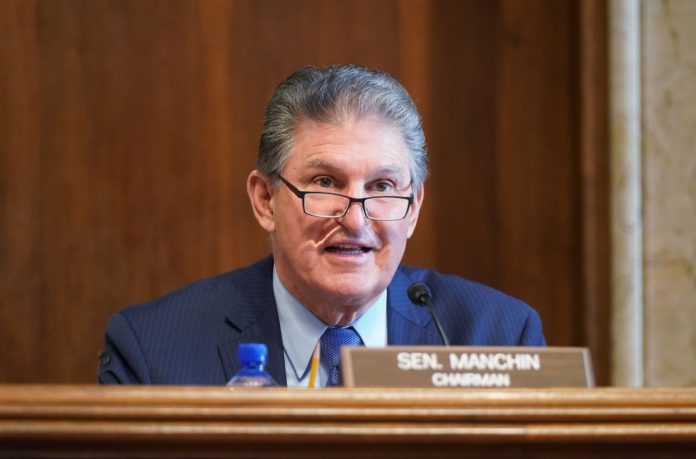 Sen. Joe Manchin, (D-WV), chairman of the Senate Committee on Energy and Natural Resources, gives opening remarks at the confirmation hearing for Rep. Debra Haaland, (D-NM) Manchin is strongly opposed to raising corporate taxes to 28 percent for Biden's infrastructure plan, but would support raising them to 25 percent.