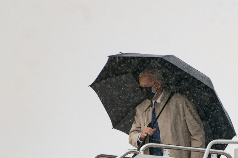 U.S. President Joe Biden boards Air Force One in the rain at Andrews Air Force Base on March 31, 2021 in Maryland. Biden intends to spend another $2.25 trillion, on the back of the $1.8 trillion American Rescue Plan pandemic stimulus, on an infrastructure bill that Republicans and the Washington Post alike have likened to the socialist Green New Deal.