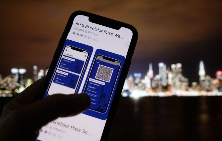 A person looks at the app for the New York State Excelsior Pass, which provides digital proof of a Coronavirus Disease 2019 (COVID-19) vaccination, on April 6, 2021.