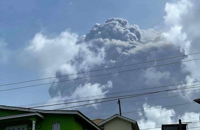 This April 9, 2021, image courtesy Zen Punnett shows the volcanic La Soufriere eruption from Rillan Hill in Saint Vincent. Some reports say residents will be required to take the AstraZeneca vaccine the island has been given by COVAX before they will be allowed to evacuate the island