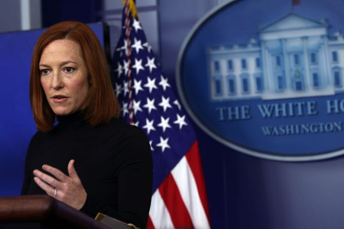 """White House Press Secretary Jen Psaki speaks during a briefing at the White House April 9, 2021 discussing new guidelines on Taiwan foreign policy, where she said there has been a """"concerning increase in PRC military activity in the Taiwan Strait, which we believe is potentially destabilizing,"""" and that the U.S. will be watching closely"""