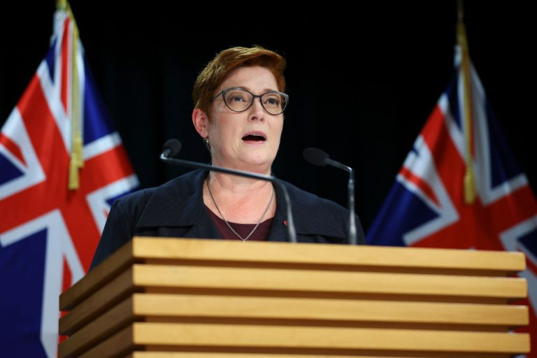 Australian Foreign Minister Marise Payne talks to the media during a press conference at Parliament on April 22, 2021 during a visit in Wellington, New Zealand. Payne and Prime Minister Scott Morrison's federal government cancelled Victoria Premier Daniel Andrews's Belt and Road Initiative agreements with the Chinese Communist Party, assessing CCP infrastructure and debt trap projects are not in the interests of Australia.