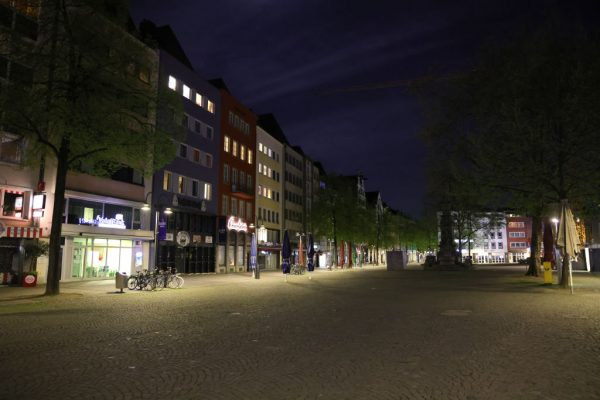 The pub mile at Alter Markt stands empty after 10 PM during a nighttime curfew during the third wave of the coronavirus pandemic on April 24, 2021 in Cologne, Germany. Increasingly extreme lockdown measures have been pushing some German citizens to fight for their right to live in a society free of totalitarian rule.