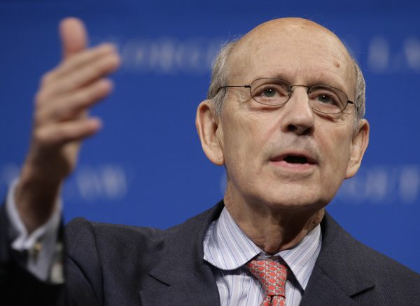 "Supreme Court Justice Stephen Breyer speaks at the conference on ""Striking the Balance: Fair and Independent Courts in a New Era"" at the Georgetown Law School  in Washington on May 20, 2009."