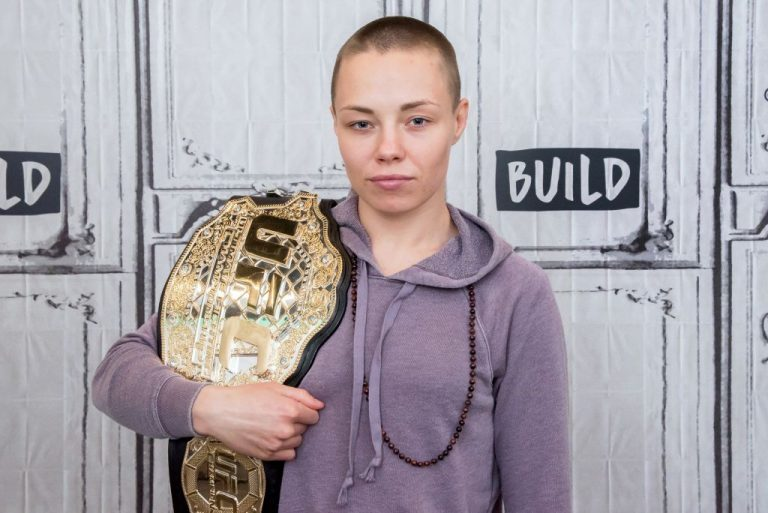 """UFC Champion Rose Namajunas visits Build Series at Build Studio on February 7, 2018 in New York City. Namajunas """"Better dead than red"""" anti-communism remarks sparked backlash from social media pundits ahead of her upcoming title fight against Champion Zhang Weili."""
