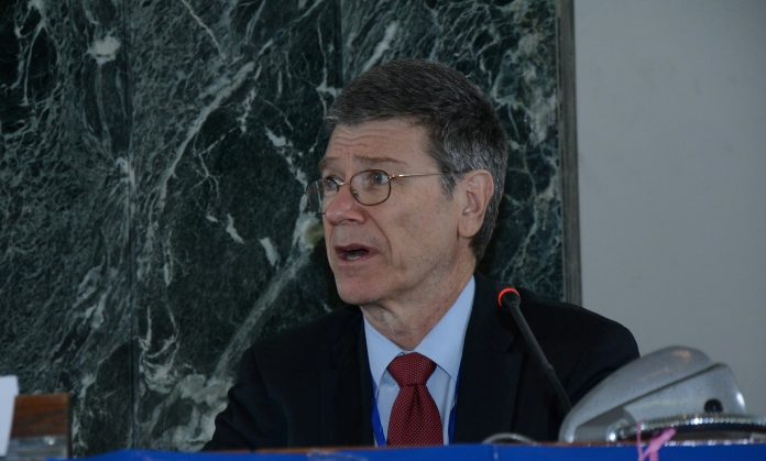 Jeffrey Sachs sits on a Coronavirus Disease 2019 (COVID-19) Commission even though he has close ties with multiple entities linked with the Chinese Communist Party (CCP). He is pictured here speaking at the 3rd Inclusive and Sustainable Industrial Development (ISID) Forum in 2015.