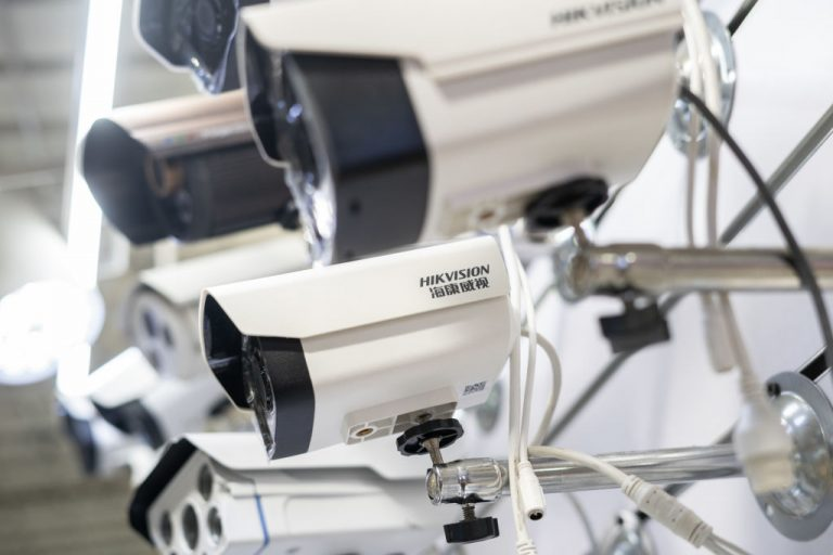 Picture of Hikvision cameras in an electronic mall in Beijing on May 24, 2019. A report found U.S. schools and governments have been bypassing a federal ban on Hikvision and Dahua surveillance equipment by purchasing with non-federally issued funds.