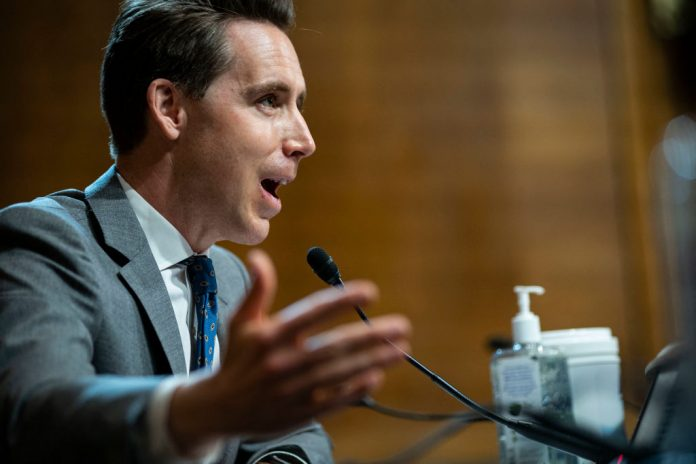 Sen. Josh Hawley (R-MO) speaks during a hearing of the Senate Judiciary Subcommittee on Privacy, Technology, and the Law, at the U.S. Capitol in Washington D.C., on April 27, 2021. Hawley believes Big Tech has formed a total monopoly and needs to be curtailed after Facebook's independent Oversight Board upheld the decision to ban Donald Trump.