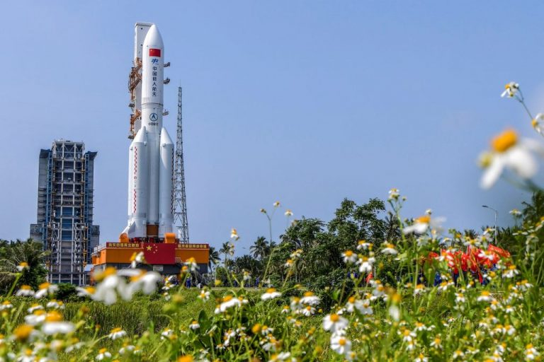 This photo taken on April 23, 2021 shows the Long March 5B rocket, which launched China's Tianhe space station core module on April 29, at the Wenchang Spacecraft Launch Site. NASA criticized the CCP after the world was fortunate enough to have the rocket land in the Indian Ocean.
