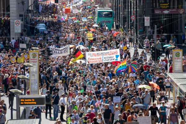 Protesters against lockdowns and measures march on August 1, 2020 in Berlin, Germany. MIT's study into online coronavirus skeptic communities was forced to concede the communities are rational, value the scientific method, and often had strict community standards of conduct.