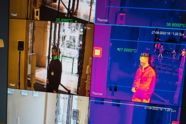 A view of thermal images as concert attendees walk past thermal imaging scanners in the Liceu on September 27, 2020 in Barcelona, Spain. Hikvision thermal imaging solutions can be so inaccurate that mainstream media has covered the story, prompting the FDA to issue a public alert.