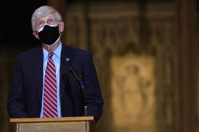 National Institutes of Health Director Dr. Francis Collins speaks during a vaccination acceptance public relations event at Washington National Cathedral March 16, 2021. NIH's Deputy Director for Extramural Research revealed more than 500 U.S. scientists are under investigation for lying about how much time they spend with the Chinese Communist Party.