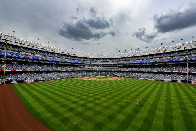 A general view of Yankee Stadium during the game between the New York Yankees and the Washington Nationals on May 09, 2021 in the Bronx Borough of New York City.