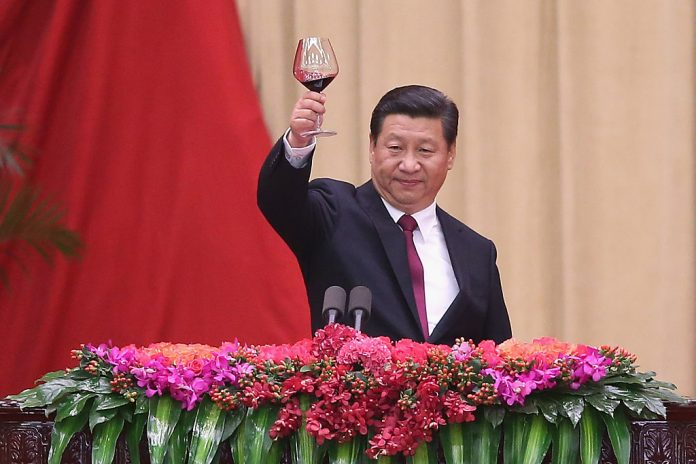 """Chinese President Xi Jinping gives a toast during a National Day reception. In another bizarre public policy move, the Chinese Communist Party has intervened in people's daily lives by banning celebrations under a so-called """"frugality campaign."""""""