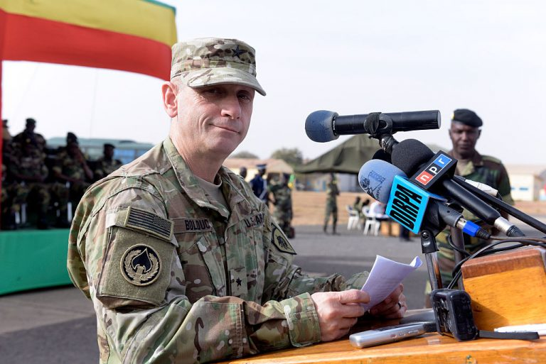 U.S. Army General Donald Bolduc delivers a speech during the inauguration of a military base in Thies, 70 km from Dakar, on February 8, 2016. Bolduc was one of the 124 signatories to a recent letter warning the Biden administration and Democrats were installing socialism and communism, undermining America's Constitutional republic.